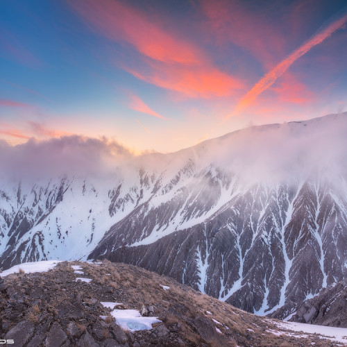 Sunset in Caucasus Mountains