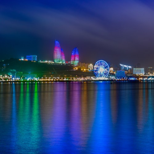 Colorful Night Baku Seaside Park