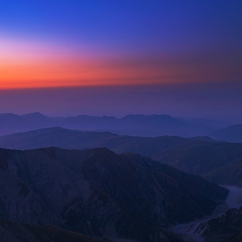 Sunrise over Caucasus mountains View from Babadag Mount 2015